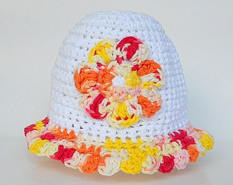 18 Month Baby Girl White Hat With Red Orange Yellow Pink Flower 9 Months To 2 Years  Infant Summer Cap 1 Year Toddler Spring Cotton  Beanie