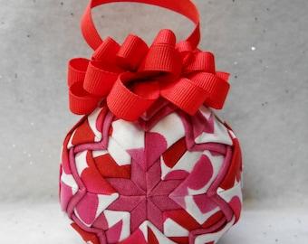 Valentine print on white Quilted Ornament - No-sew ornament - Home decor, Valentine's Day