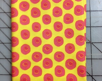 1 yard Dena Designs - The Painted Garden - Posey in Yellow PWDF140, Sunshine Yellow with little pink+orange circles