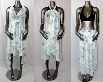 White, Green, & Grey Convertible Dress/Skirt or Swimsuit Cover Up