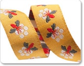 """BONNIE CHRISTINE 5/8"""" ribbon--Gray and Red on Gold Bees--price is per yard"""