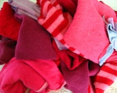 pink and red wool scraps crafting supplies cutter quilting blankets