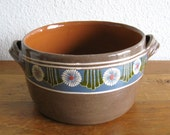 Mexican Terra Cotta Bowl with Flower Pattern