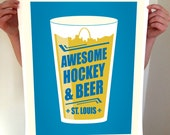 St Louis Beer Poster - Awesome Hockey & Beer - Typography Art Print - STL St. Louis Saint Louis - St Louis Skyline