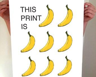 This Print Is Bananas, Banana, Bananas, Banana Art, Fruit, Fruit Art, Kitchen, Wall Art, Home Decor, Kitchen Wall Art, Kitchen Idea, Type