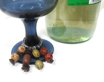 Wood Beaded Wine Glass Charms - Rustic Wine Charms - Wine Glass Party Favors Set of 4