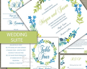 Watercolour leaves wedding invitation suite - Packages to save money - Printable set - calligraphy garden wedding - whimsical wedding