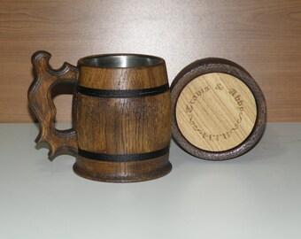 Personalized groomsman gift, Wooden Beer mug, 0,65 l (22oz),Personalized wedding gift,groomsmen gift, n12