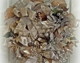 Silver& Gold Christmas Door Wreath, Silver Wreath, Gold Wreath, Christmas Door Wreath