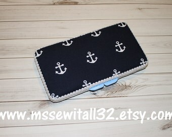 Custom Navy with Anchors Diaper Wipes Case