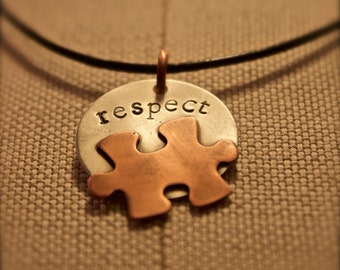 Puzzle Kollection: Sterling Silver & Copper Pendant with black leather necklace - respect