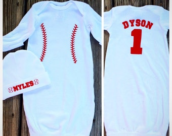 Personalized Baseball Infant Gown & Hat Set