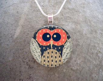 Owl Jewelry - Glass Pendant Necklace - Owl 1