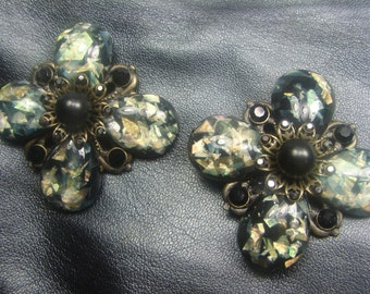 Vintage Shoe Clips/Fur Clips Black Rhinestone and Faux Opal 977.