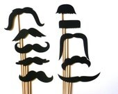 10 Photo Booth Props. Wedding Photo Props. Photo Props. Mustache. Props on a Stick. Mustache on a Stick