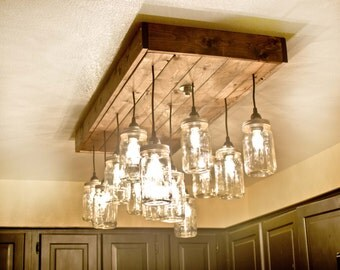 Mason Jar Chandelier. Mason Jar Light (custom sizing offered)