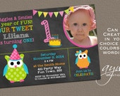 Owl First Birthday Invitation Owl Bunting First Birthday Girl Owl Invite - Girl Birthday Owl Printable Chalkboard Invite