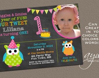 Owl Birthday Invitation First Birthday Owl Party Invitation 1st Birthday Owl Invitations Printable Girl Owl Chalkboard Photo Card ANY AGE