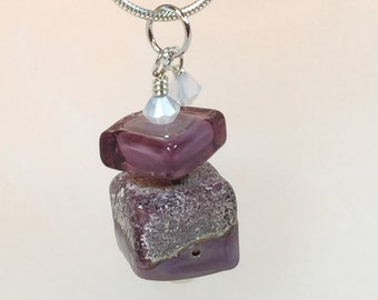 Necklace plum purple glass art lampwork square bead stacked with crystals