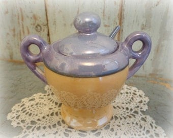 vintage lusterware mustard jar with spoon / periwinkle blue & gold / 1930's japan