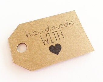 Kraft HANDMADE With Love Tags -  Hang Tags, Gift Tags, Labels, Die Cuts -  2.0 X 1.25 inch - Handmade Packaging