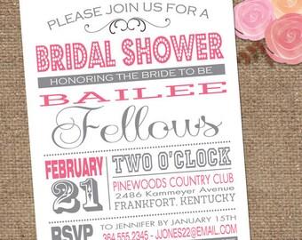SubwayART Bridal Shower Invitation / Custom Colors / Invite Wedding or Shower DESIGN / DIY Printable or We Print for You