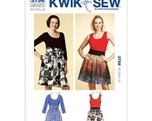 Womens Sewing Pattern  Misses Dresses Kwik Sew 3758 - XS-S-M-L-XL - Pullover Dresses - Gathered Skirt Dresses