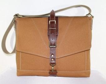 Honey Gold / Light Brown The Messenger Diaper Travel Bag