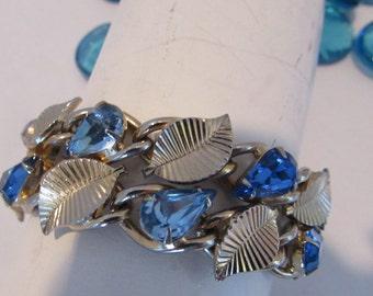 Vintage Coro Bracelet 1960s Blue Stones  Goldtone