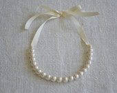 Stella: Beautiful Newborn/Infant Ivory Pearl Necklace with Ribbon - Photo Prop