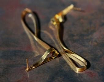 ON SALE, Free shipping, Long earrings, gold earrings, dangle earrings, Handcrafted jewelry, elegant earrings, trendibg jewelry