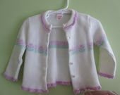 Vintage Sears white cardigan with purple flowers, size infant medium
