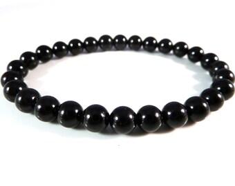 Black Tourmaline Stretch Bracelet Smooth 6mm Round Bead Bracelet