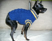 Blue Cable Knit Dog Sweater-Hand Knit-Chihuahua Sweater-Dog Coat-Dog Costume-Dog Clothes size S