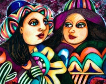 Mexican Folk Art, Latin Art Print, Couple Art, Whimsical Women Print, Spanish Lady Art, Gift For Women, Good Friends by Paula DiLeo_