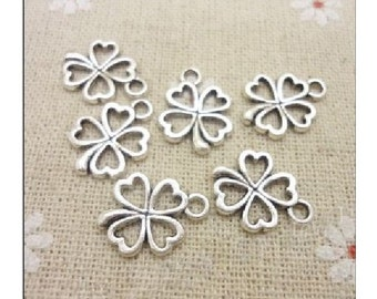 10 Four Leaf CLover Charms Small Open  READ ITEM DETAILS Below  Irish Lucky Atq Silver Tone St Patrick's Day Celtic Charm Jewelry 17x13 mm