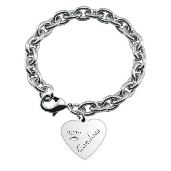 Engraved Charm Bracelet: Engraved Graduation Charm Bracelet