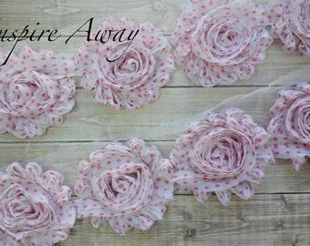 White & Pink Dots Shabby Chiffon Flower Trim - Your choice of 1 yard or 1/2 yard -  Chiffon Shabby Rose Trim, DIY headband supplies,