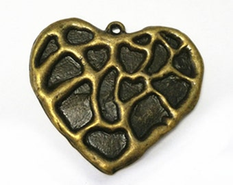 4pc 39x34mm antique bronze finish metal patterned heart pendants-B30