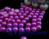 100pcs 9mm Hot Pink #21 Flat Back Half Round Resin Faux Pearls by MajorCrafts - Kawaii Cabochons Craft Beads DIY Gems Embellishments