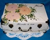 Hand Painted Baby Keepsake Box Custom Suitcase Box Personalized Wood Box Baby Girl Shower Large Wedding Keepsake Card Box Peony Distressed