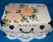 Custom Wood Wedding Suitcase Card Box Painted Keepsake Memory Box Trunk Gold Personalized Bridal Shower Anniversary Gift Peony Decor