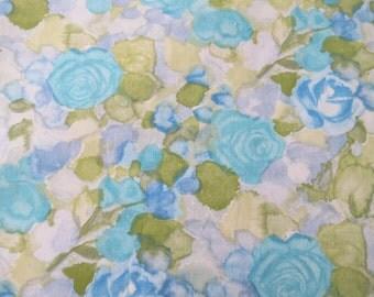 Vintage Sheet Fabric Fat Quarter - Blue Purple Watercolor Floral