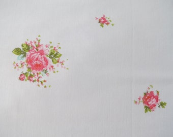 Vintage Sheet Fabric Fat Quarter - Pink & Blue Roses
