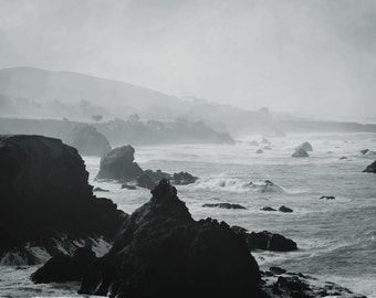 "black and white photography / ocean photograph /  nature art print / California seascape / coastal wall art / ""Rugged Sonoma Coast 2"""