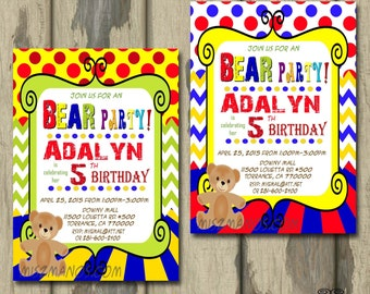 Teddy Bear Birthday- Bear Invitation, Bear Invite Party- Customized - DIY Printable File