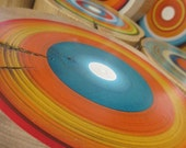Sunset Shades - Hand Painted Tree Rings on Reclaimed Wood Wall Art made from Barn Beams - Set of 9  (9SSTRWD)