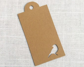 Bird Die-cut Kraft Paper Tags, Gift Tags - Set of 25 - wedding invitation decoration - wedding favor tags