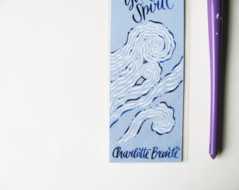 Jane Eyre ligh blue bookmark with calligraphy quotation - It is my spirit