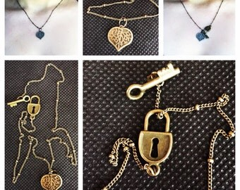 Lock, key, and heart necklace